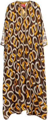 F.R.S For Restless Sleepers Gige Metallic-trimmed Printed Cotton And Silk-blend Voile Kaftan