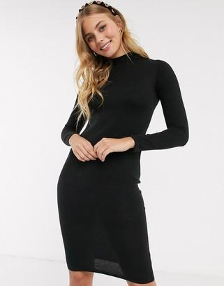 Brave Soul rouse turtleneck sweater dress in black