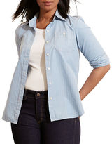 Lauren Ralph Lauren Plus Striped Cotton Dobby Shirt