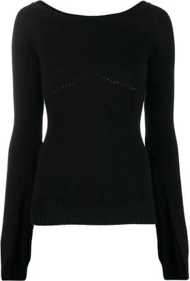 No.21 boat-neck cashmere knit top