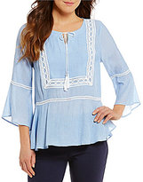 Gibson & Latimer Bell Sleeve Striped Crochet Trim Peasast Blouse