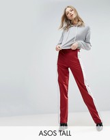 ASOS Tall ASOS TALL Straight Leg Track Pants with Side Stripes and Ring Pulls