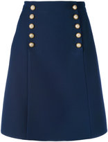 Gucci logo button a-line skirt - women - Silk/Acetate/Wool - 42