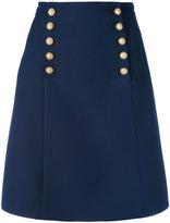 Gucci logo button a-line skirt - women - Silk/Acetate/Wool - 44