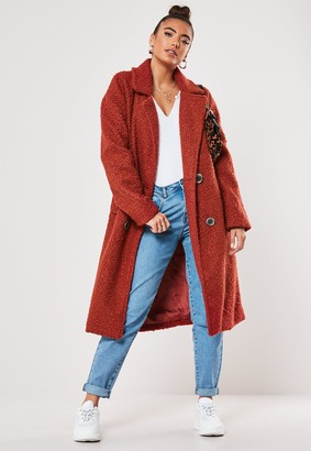 Missguided Rust Double Breasted Coat