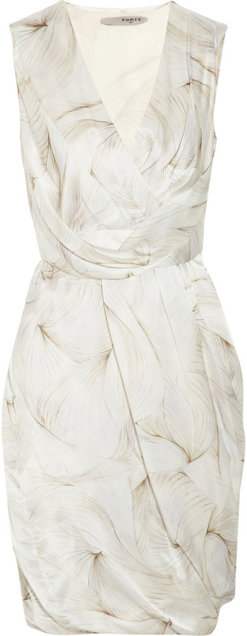Ports 1961 Twisted printed silk dress