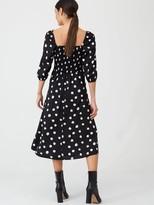 Very Spot Puff Sleeve Midi Dress - Spot Print