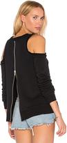 Central Park West Los Feliz Cold Shoulder Sweatshirt in Black. - size L (also in M,S,XS)