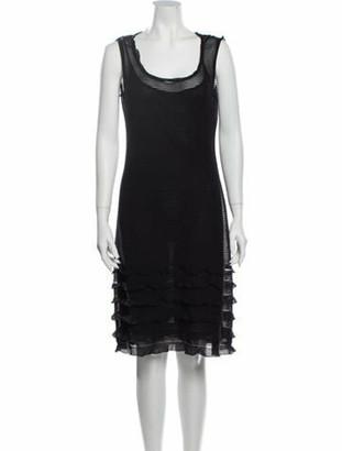 Valentino Scoop Neck Knee-Length Dress Grey