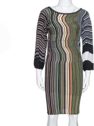 M Missoni Black Striped Wool Knit Fitted Dress S