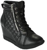 JJF Shoes Forever Adriana12 Women Sporty Leatherette Lace-Up High Top Wedge Sneaker Bootie Shoes
