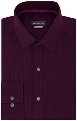 Van Heusen Vivid Mens Spread Collar Long Sleeve Wrinkle Free Stretch Dress Shirt - Slim