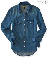 Aeropostale Womens Prince & Fox Dark Wash Chambray Button Down Blue