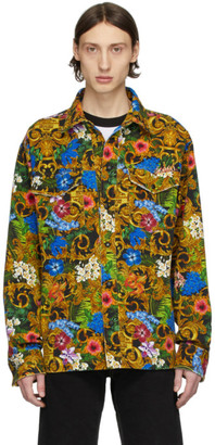 Versace Multicolor Barocco Jungle Denim Jacket