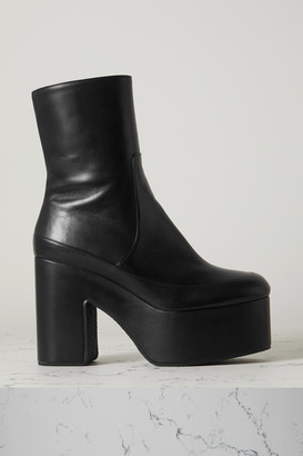 Dries Van Noten Leather Platform Ankle Boots - Black