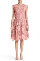 Lela Rose Women's Seamed Lace Fit & Flare Dress