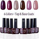 Gellen UV Gel Nail Polish Kit 6 Colors + Base & Top Coats 8ml, Low Key Grace Colors Manicure Set