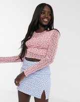 Daisy Street long sleeve top in ditsy floral mesh