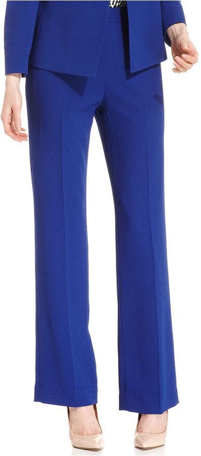 Kasper Side-Zip Straight-Leg Textured Pants