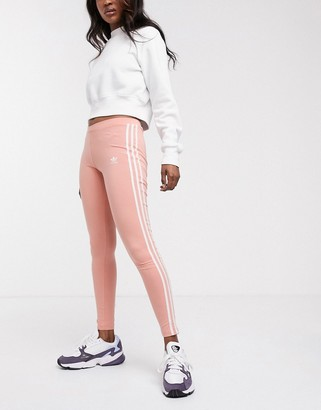 adidas 3 stripe leggings in coral