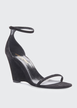 Saint Laurent Lila 85mm Suede Wedge Sandals
