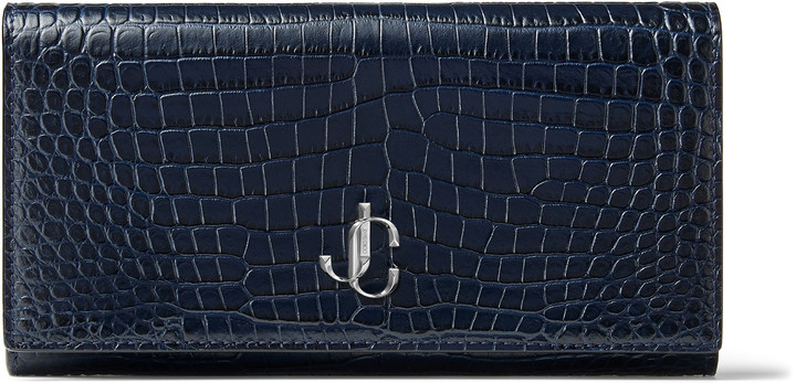 Jimmy Choo MARTINA Navy Croc-Embossed Leather Wallet with JC Emblem