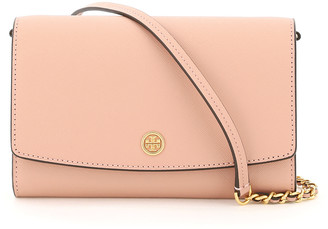 Tory Burch ROBINSON CHAIN CLUTCH OS Pink Leather