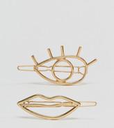 Asos Pack of 2 Eye & Lips Hair Clips
