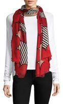 Burberry Scallop & Stripe-Print Cashmere & Silk Scarf