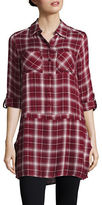 BB Dakota Roll-Sleeve Plaid Shift Dress