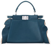 Fendi Peekaboo Mini Wave Leather Satchel Bag, Teal