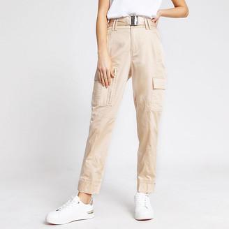 River Island Beige high waist slim leg utility trousers