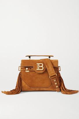 Balmain B-buzz 19 Fringed Suede Shoulder Bag - Camel
