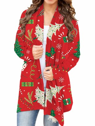 Sexy Dance Womens Loose Christmas Tree Snowman Printed Cardigan Casual Long Sleeve Xmas Open Front Jacket Coat Outwear XXL Red Snowflake