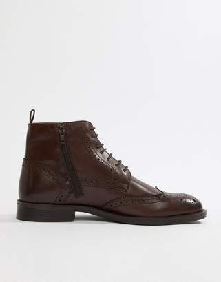 Pier 1 Imports brogue boots in brown leather