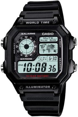 Casio Unisex Digital Black Resin Strap Watch 39.5mm