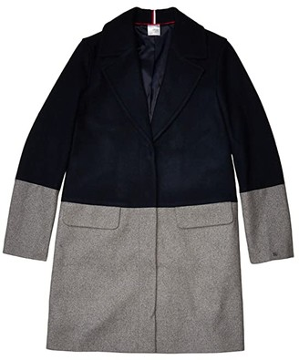 Tommy Hilfiger Adaptive Color Block Wool Coat (Masters Navy/Heather Grey As Swatch) Women's Clothing