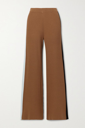 STAUD Ski Color-block Ribbed-knit Wide-leg Pants - Brown