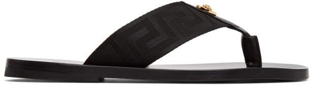 Versace Black Greek Key Thong Sandals