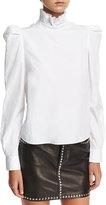 Frame Ruffled-Neck Button-Back Poplin Shirt
