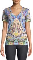 Etro Short-Sleeve V-Neck Paisley Printed T-Shirt