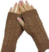 Tenworld Women Girls Knitted Arm Fingerless Winter Gloves Soft Warm Mitten