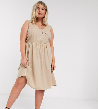 Vero Moda Curve linen skater dress with wrap detail in beige