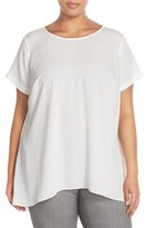 Vince Camuto Plus Size Women's High/low Short Sleeve Blouse