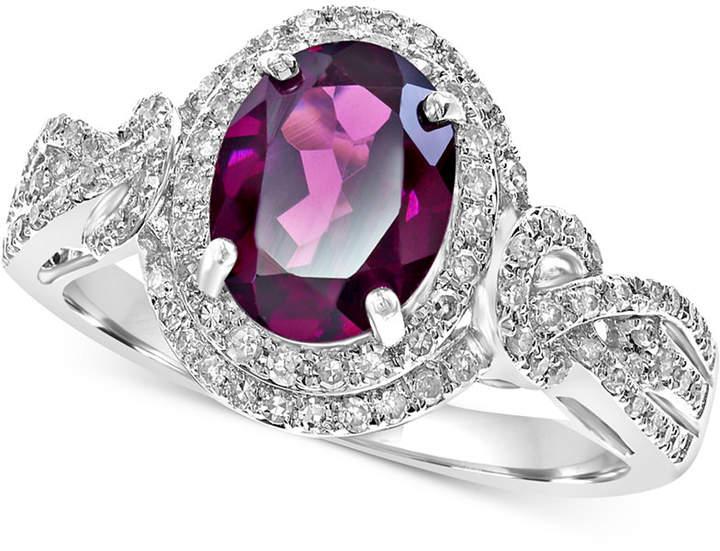 Effy Rhodolite (2-1/3 ct. t.w.) & Diamond (3/8 ct. t.w.) Ring in 14k White Gold