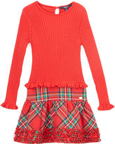 E-Land Kids Red & Green Tartan Ruffle-Trim Dress - Toddler & Girls
