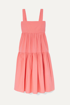 Three Graces London Cosette Tiered Cotton-poplin Midi Dress - Pink