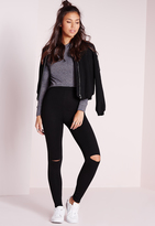 Missguided Tall Ripped Knee Leggings Black