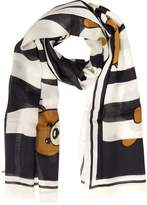 Moschino Teddy Bear Printed Cashmere, Wool and Silk Stole