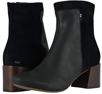 Toms Emmy (Black Leather/Pig Nubuck) Women's Shoes